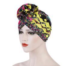 Bohemian Print Muslim Hat New Women Turban Cap Flower Bandanas Headwear Chemotherapy Headscarf Elegant Hijab