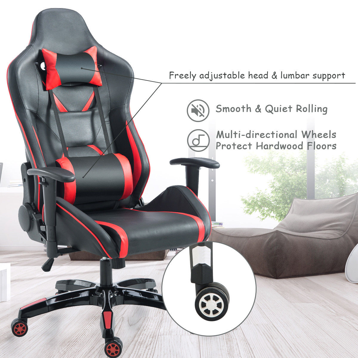 Giantex Gaming Chair High Back Racing Recliner Office With Lumbar Support Headrest Ergonomic Computer Armchairs Hw56580 In Chairs From