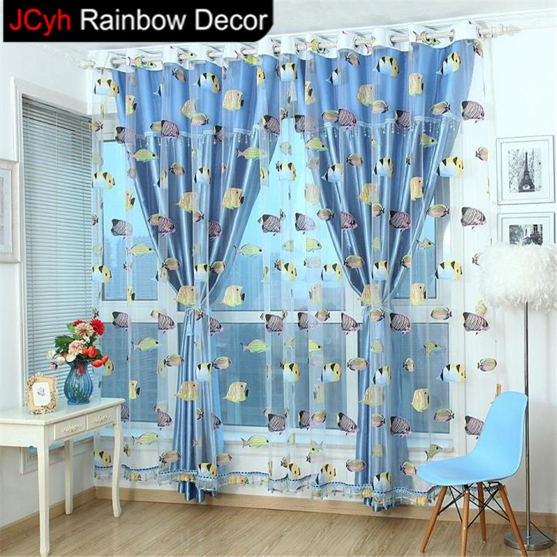 Perfect JRD Kids Cartoon Fish Blackout Tulle Curtain Colorful Blue Ocean  JE75