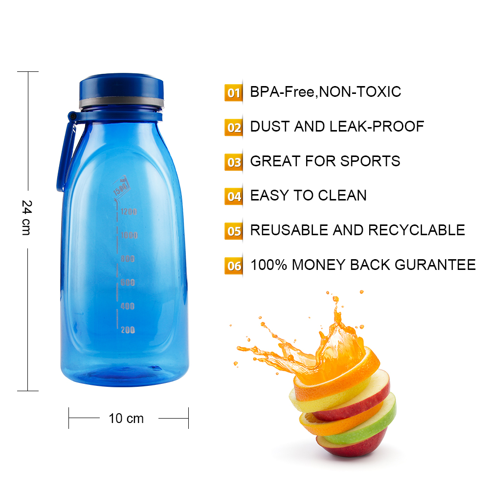 1500ml high quality Sports Water Bottle PP Large Capacity With scale My Sport Bottle For Portable Outdoor Drinkware BPA Free