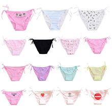 Womens Sexy Side Tie High Cut Underwear Cartoon Fruit Funny Words Printed Lingerie Panties Candy Color Low Rise Cotton Bikini Th