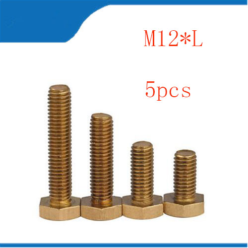 5pcs M12 m12*L Copper Metric Thread Screws DIN933 Brass Hexagon Bolt Hex Head Screw special copper screws copper hexagon bolt copper outer hexagonal screws m16 80
