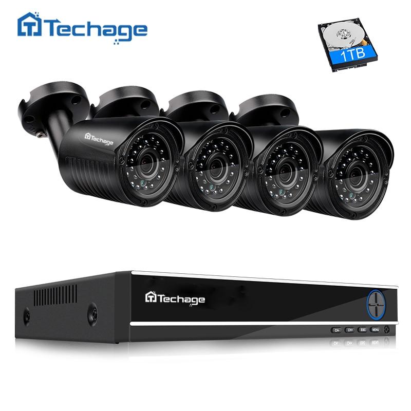 Techage 4CH 1080P HDMI Output DVR Kit AHD CCTV System 4PCS 720P 1.0MP Camera Outdoor AHD-M Video Security Surveillance System