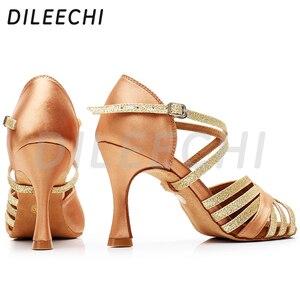 Image 3 - DILEECHI Latin Dans Ayakkabıları Kadın Ipek Saten Yeni Bronz Salsa Parti Balo Salonu Dans Ayakkabıları topuk 9 cm Dikişsiz geri bayanlar spor ayakkabı