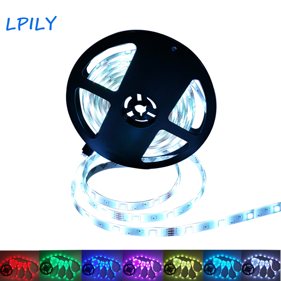 LPILY SMD 5050 RGB LED Strip Light 5 M 30 Leds/m DC 12 V lED Tape Ribbon Diode Flexible Waterproof For Home Decoration осциллятор 48 5032 osc 48 000mhz 5 3 2 48 m 4 p smd