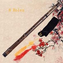 Classic 8 Holes Chinese Bamboo Flute Xiao dizi Purple Bamboo With Chinese Knot Bag G F Key