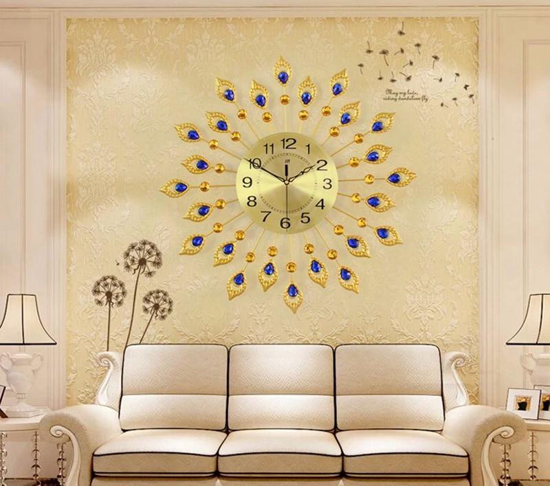 3D Big Peacock Wall Clock Modern Design Home Decor Wall Watches ...