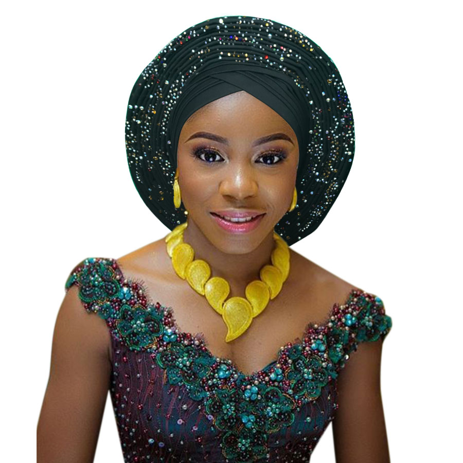 African head tie nigerian head tie auto gele headtie fashion african turban head wrap studded stoned african headtie (2)