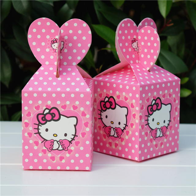 c7f7de6efb18 6pcs lot Hello Kitty Favor Box Candy Box Gift Box Cupcake Box Boy Kids  Birthday Party Supplies Decoration Event Party Supplies