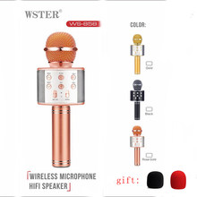 Originale Wster WS858 di Modo Senza Fili di Bluetooth a Condensatore Magic Karaoke Microfono Del Telefono Mobile Player Mic Altoparlante Registrare Musica(China)