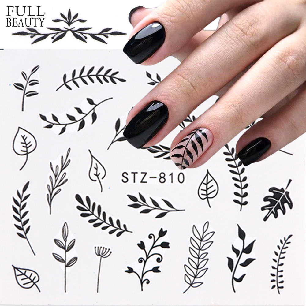 1pcs Black Leaf Nail Sticker Flower Water Transfer Decal Slider Nail Art Decoration For Manicure Wraps Foils Tips CHSTZ808-843