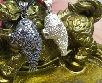 925 Silver  red eyes Langya set down tiger tooth Silver Pendant