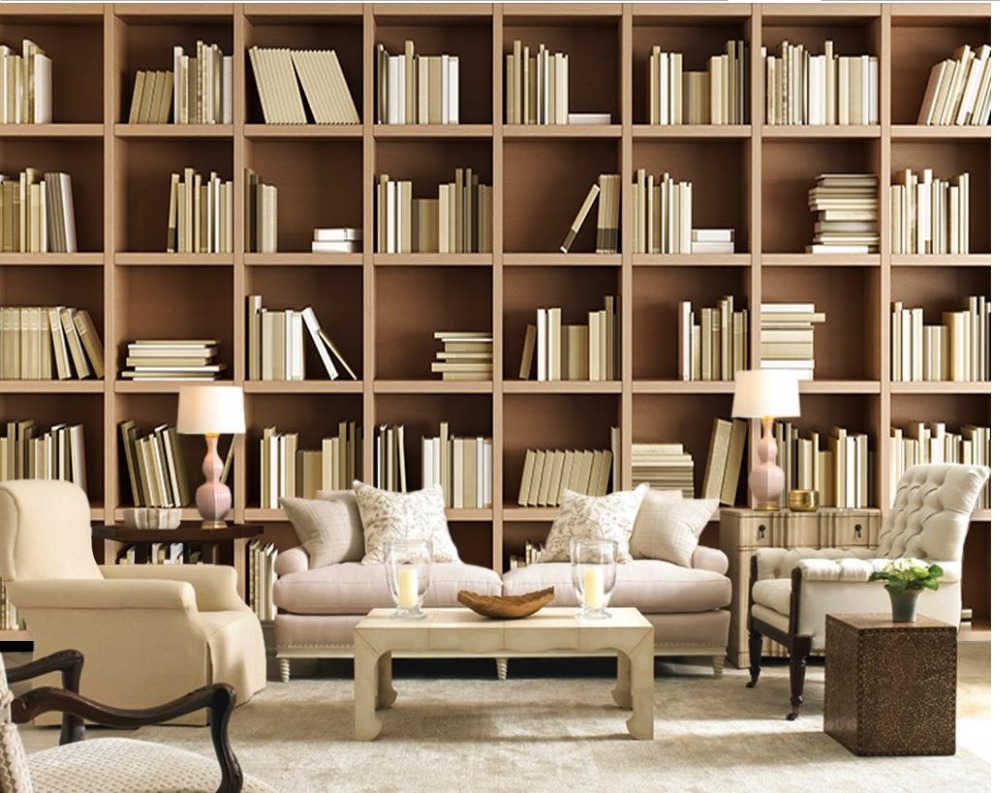European Home Decor Mural Wallpaper Non Woven Material Living Room Bookshelf Book Shelf Image Library