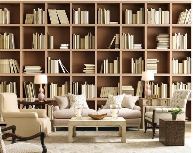 European Home Decor Mural Wallpaper Non Woven Material Living Room Bookshelf Book Shelf Image Library