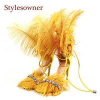 Stylesowner 2019 Feather Sandals for Women Rhinestone Tassel Fringe Open Toe Thin Heel Sexy Stiletto Shoe Runway Party Sapatos