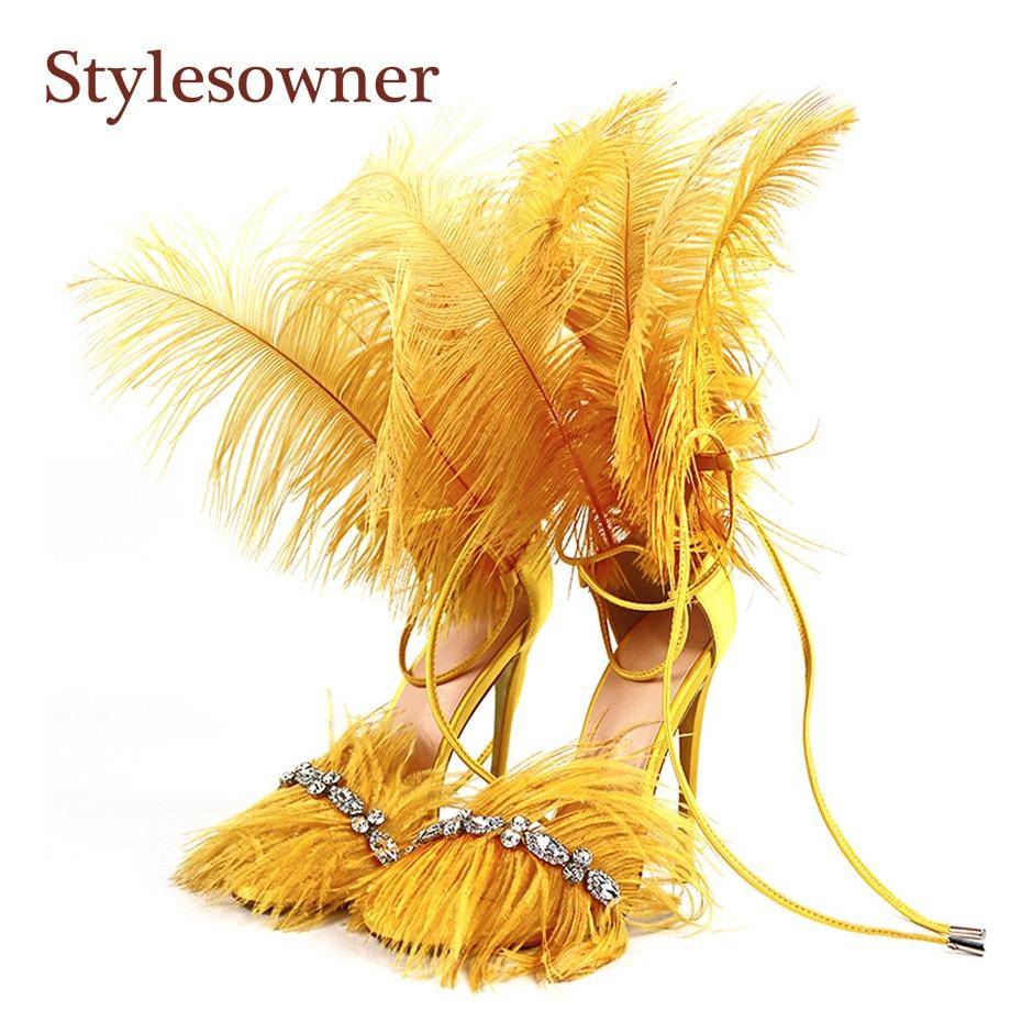 Stylesproprio 2019 plume sandales pour femmes strass gland frange bout ouvert talon mince Sexy Stiletto chaussure piste fête Sapatos