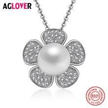 925 Sterling Silver Pendants 10mm Pearl Necklace Charm Women Jewelry 100% Flowers
