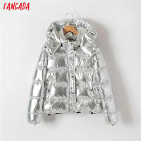 Tangada 2017 Winter Thick Warm Silver Women Parkas Hooded Zipper Button Pocket Cotton Padded Jacket Coats Casual Tops XD06