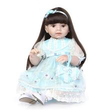 28 inch Big Toddler Bonecas Collections Dolls Birthday Gifts Toys Soft Vinyl Reborn Baby Dolls in Light Blue Princess Dress