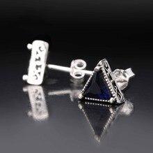 Men's 925 Sterling Silver CZ Crystal Triangle Stud Earring