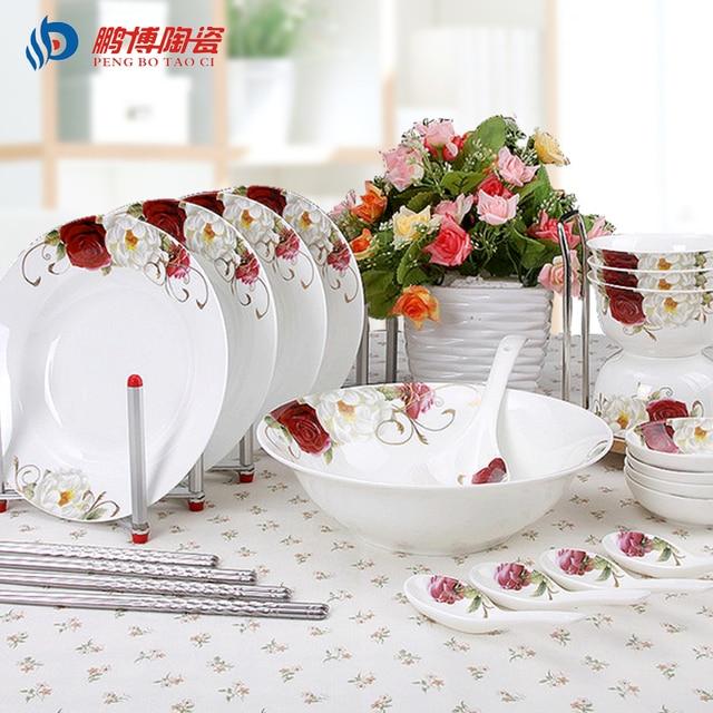 Traditional Chinese 22pcs/set Bone China Porcelain Dinnerware Sets Top Quality Environmental Ceramic Tableware For & Traditional Chinese 22pcs/set Bone China Porcelain Dinnerware Sets ...