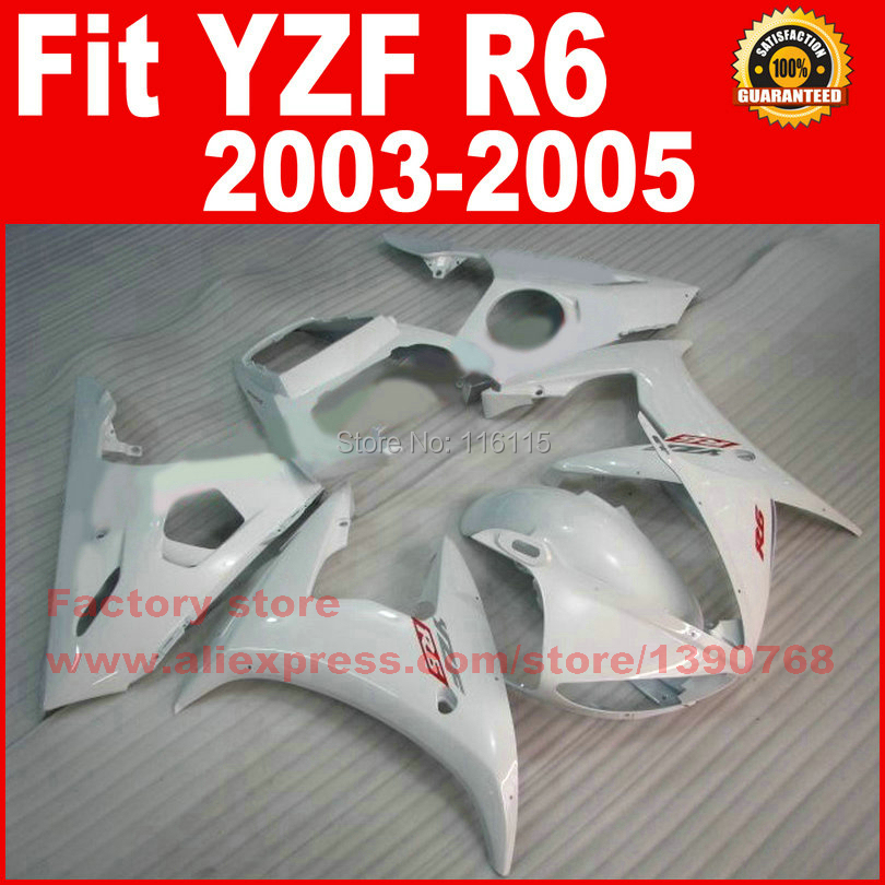 Custom ABS plastic motorcycle fairings kits for YAMAHA 2003 2004 2005 YZFR6 all white YZF R6 03 04 05 fairing kit body parts 6 colors cnc adjustable motorcycle brake clutch levers for yamaha yzf r6 yzfr6 1999 2004 2005 2016 2017 logo yzf r6 lever