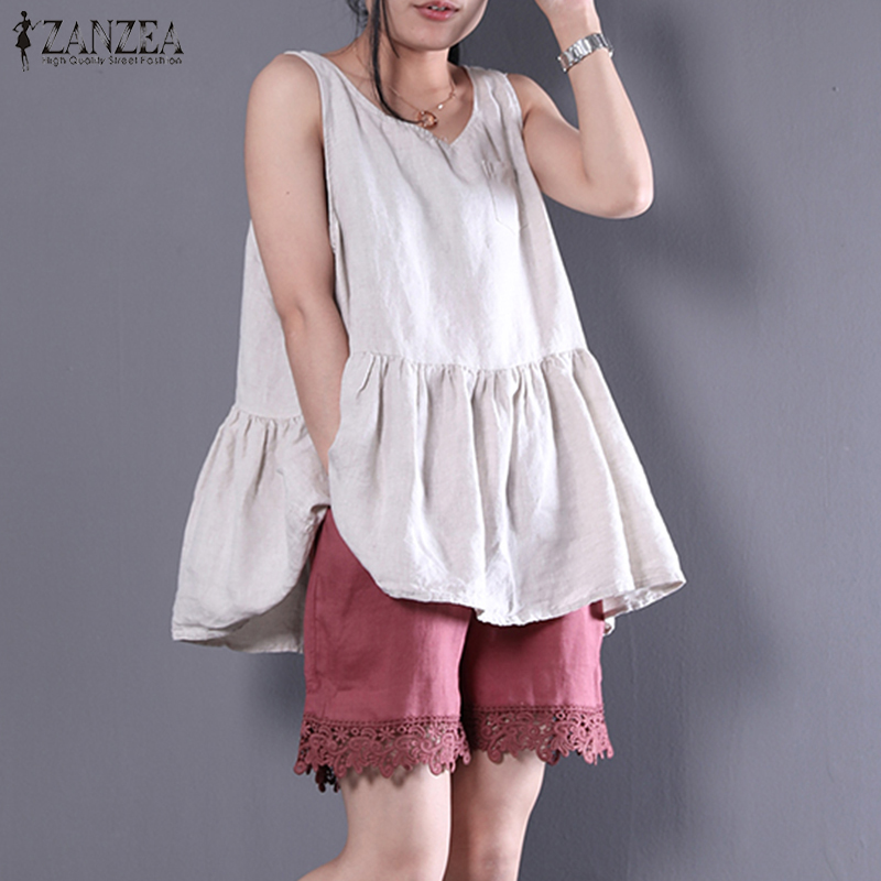 2018 ZANZEA Women Casual Summer O Neck Sleeveless   Tanks     Top   Loose Cotton Linen Shirt Solid Ruffles Party Tee Vest Plus Size