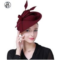 Fascinators Wool Hats For Women Elegant Black Wine Red Felt Pillbox Hat Girls Ladies Church Formal Wedding Dress Hats