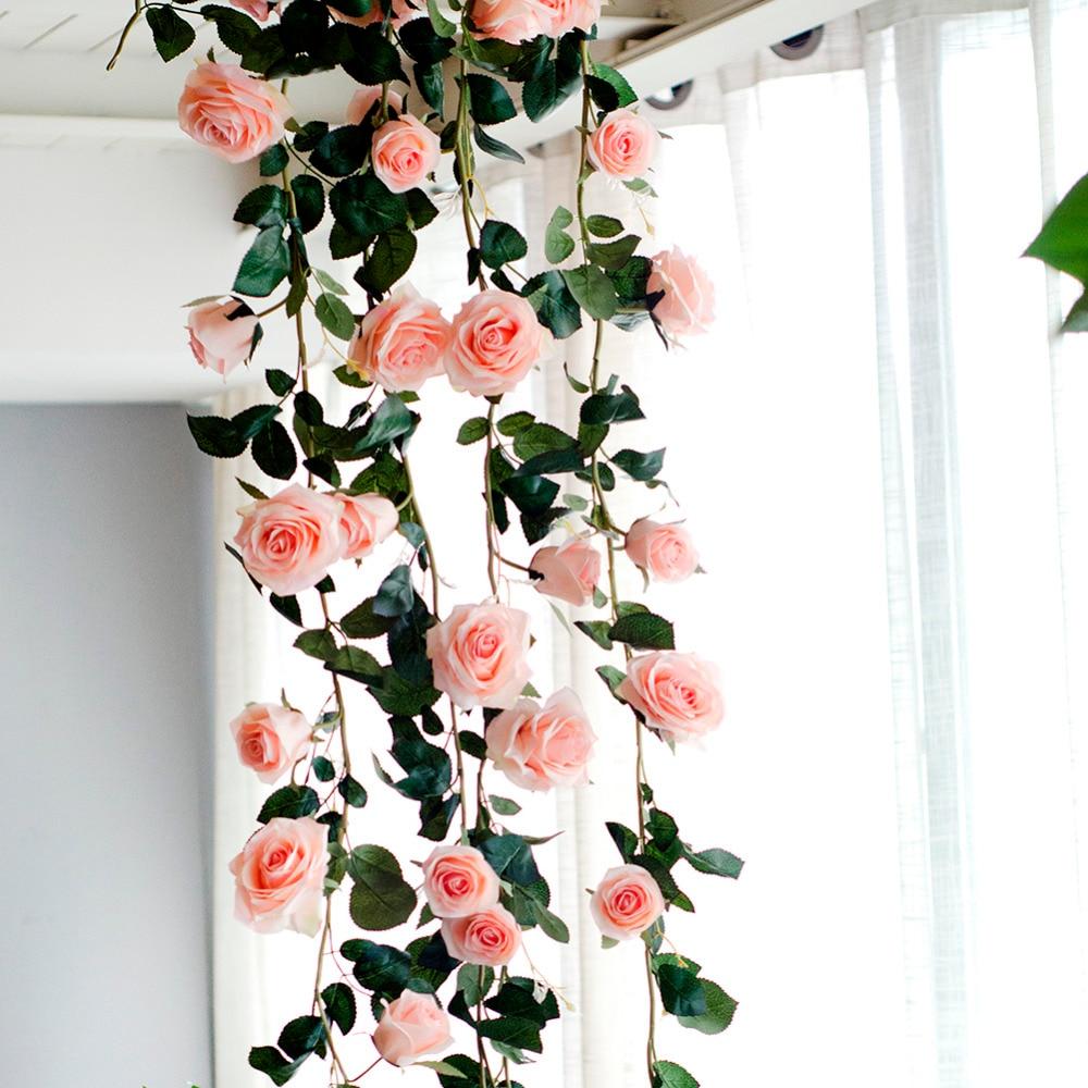 180 cm Rosa artificial vid de La Flor de la boda decorativa real toque flores de seda con hojas verdes para el hogar colgante de la guirnalda