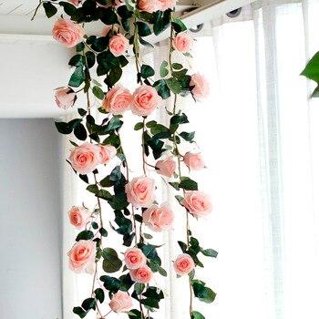 180cm artificial rose flower vine wedding decorative real touch silk 180cm artificial rose flower vine wedding decorative real touch silk flowers with green leaves for home hanging garland decor mightylinksfo