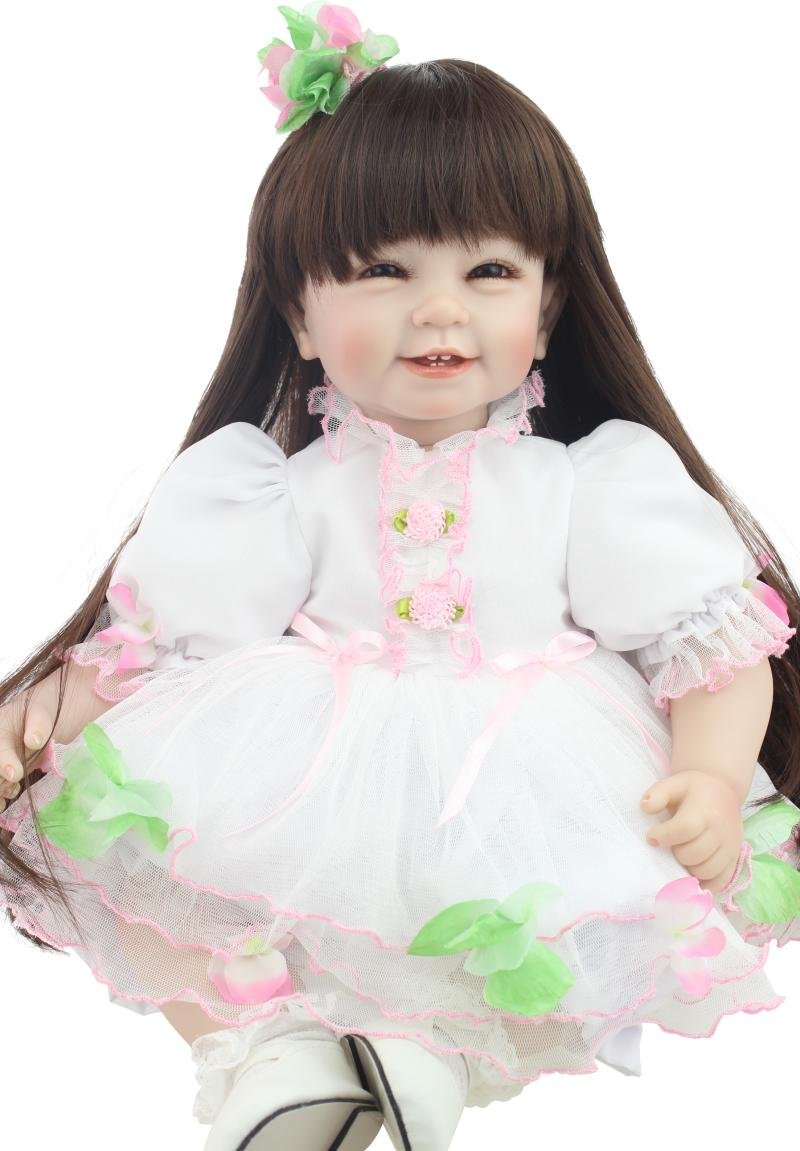 Npk silicone limbs cloth body Bebe reborn Doll Lifelike Long hair Girl soft glue simulation baby alive Boneca dolls Kids Toys adorable soft cloth body silicone reborn toddler princess girl baby alive doll toys with strap denim skirts pink headband dolls