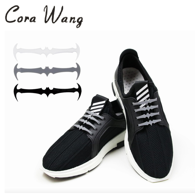 Cora Wang 16Pcs/Lot Bat Shoelaces For Kids Adults Elastic Silicone Shoe Lazy Laces Slip  ...