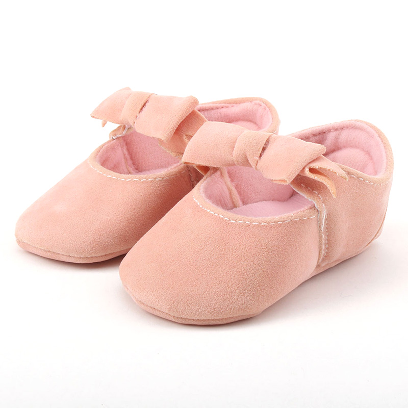 Newborn Baby Girls First Walkers Bebe Soft Shoes Butterfly-knot First Walkers Soled Non-slip Footwear Crib Shoes Bow Tie Shoes
