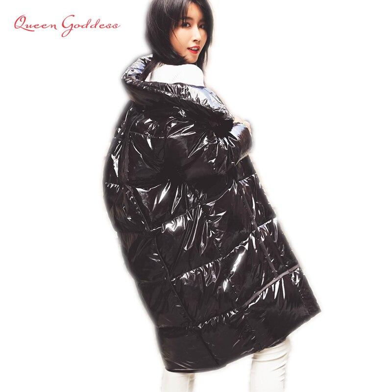 Mode hiver paillettes épaissir Parkas jeunes filles collection Oversize cocon veste tissu lumineux Long manteau 7XL