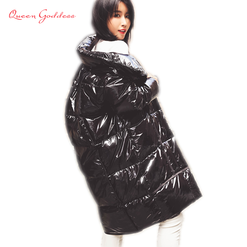 Winter Fashion Sequins Thicken Down Parkas Young Girls Collection Oversize Cocoon Jacket Luminous Fabric Long Coat 7XL