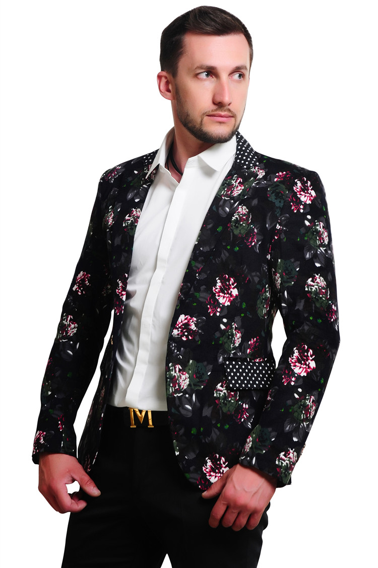 Loldeal  2018 Mens Floral Blazer  Flower Print Blazers For Men Large Size Slim Fit Bohemia Blazer Men Costume Homme Men Blazer