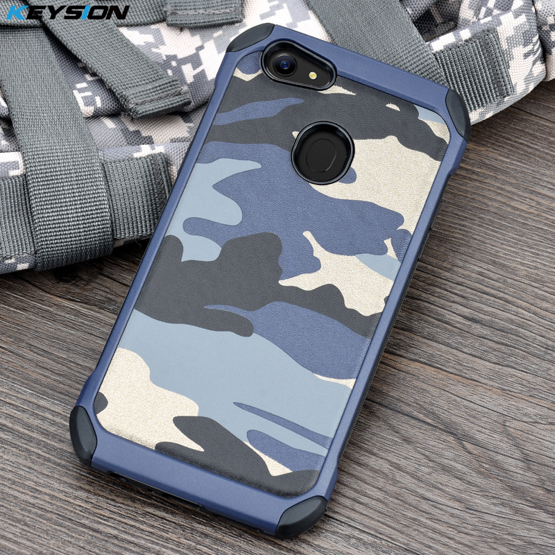 KEYSION Case for OPPO F5 Army Camo Camouflage Pattern PC+TPU 2 in1 Anti-knock Protective Back Cover for OPPO A79 F5