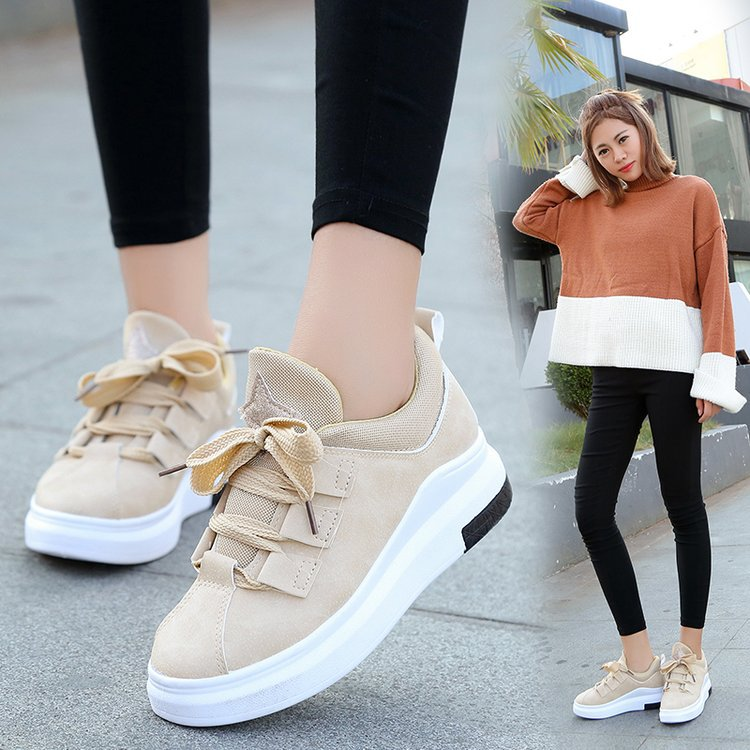 Brand 2018 women new arrival sneakers Breathable Round Toe Casual Shoes Student Platform Shoes Flats Lace Up Ladies Shoe fashion women casual shoes breathable air mesh flats shoe comfortable casual basic shoes for women 2017 new arrival 1yd103