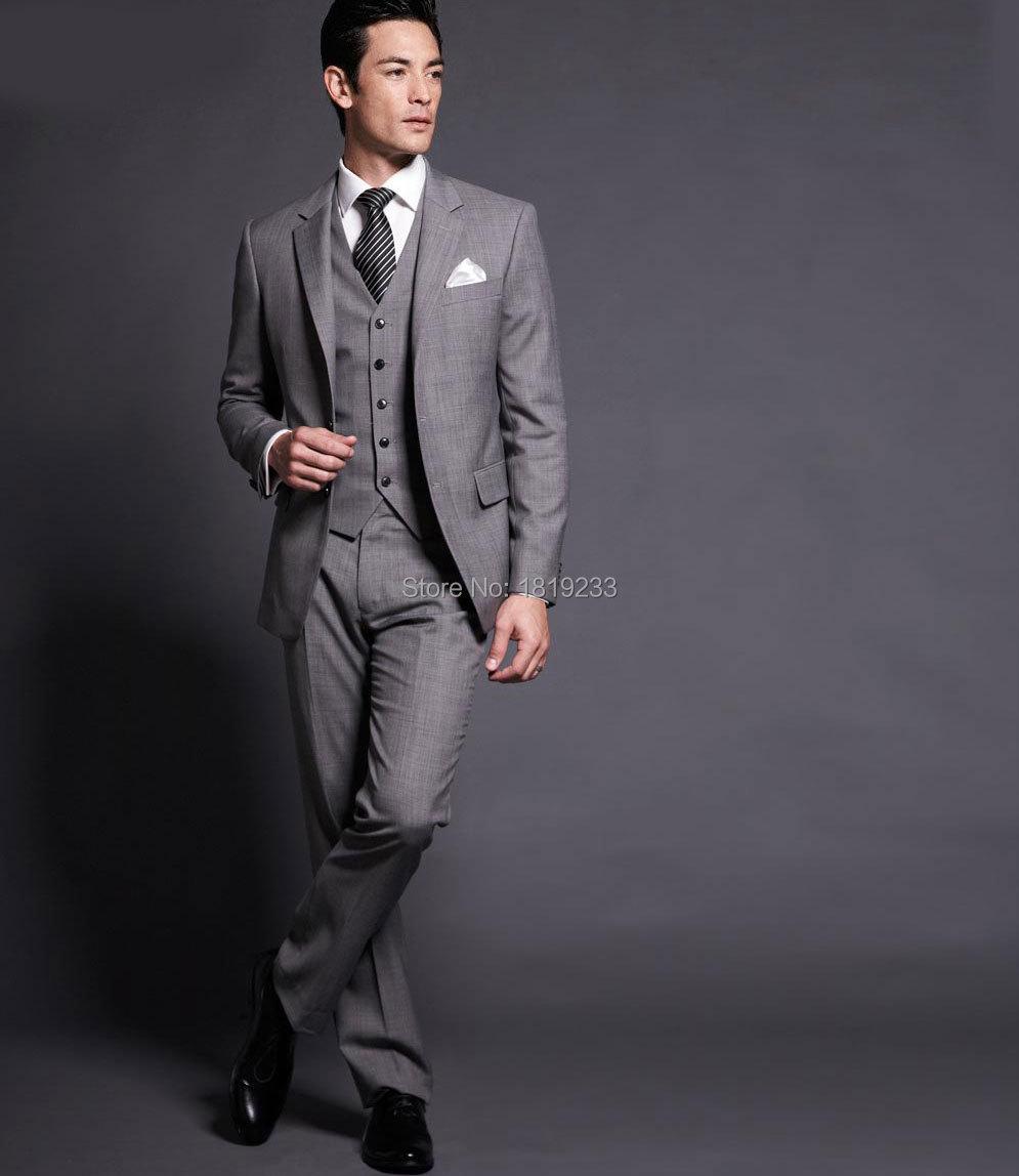 Online Shop 2015 Custom Made Side Vent Light Grey Groom Tuxedos ...