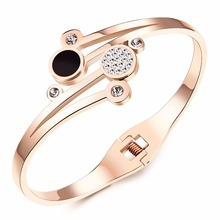 Heyrock Girls Open Charm Bangles Elegant Cubic Zirconia Party Wedding Jewelry Female Rose Gold Stainless Steel Cuff Bracelets