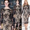 Летний Стиль 2016 Модные Женские Платья Кружева Средний-Икра Длина выдалбливают Платье