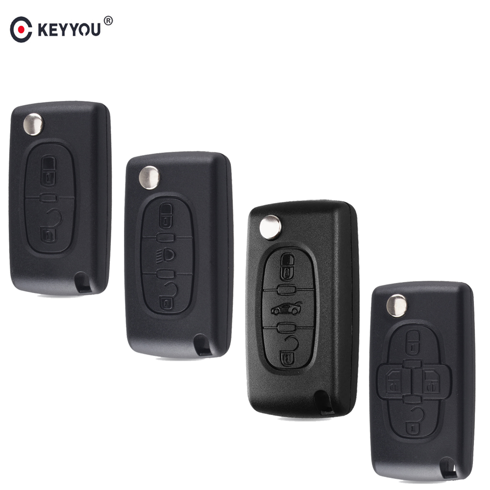 KEYYOU 10pcs 2/3/4 BT Flip Folding Remote Car Key Case Shell For Peugeot 107 207 307 308 407 607 807 Citroen C2 C3 C4 C5 C6 C8