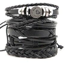 5pcs Stylish Handmade leather Wrap Braided bracelets Male Female Vintage leather Wristband Combined bracelet Accessories Gifts