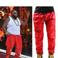 Cool Hip Hop Leather Sweatpants Men Black RED Leather Pants Sweat Pants Trackpants Big Size 28 to 40