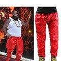 Fresco de Hip Hop pantalones de Chándal de Los Hombres de Cuero Negro Pantalones De Cuero ROJO Sweat Pants Trackpants Gran Tamaño 28 a 40