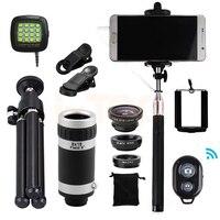 15in1 Fisheye Makro Fisheye Wide Angle Camera Lens Kit Lentes 8x Klipy Soczewki Zoom Teleobiektyw Statyw Dla iPhone 6 6 s 7 Smartphone