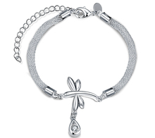 Top Quality Silver-Plated Fine Charm Bracelet Dragonfly And Rhinestone Pendant Women Xmas Wedding Gift Girl Friend