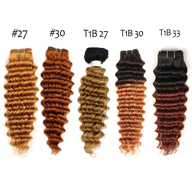 Rambut Pirang Gelombang Dalam Bundel dengan Penutupan Brazilian Rambut Manusia Menenun Ombre Coklat Rambut Pirang Bundel dengan Penutupan Berwarna Rambut Non Remy