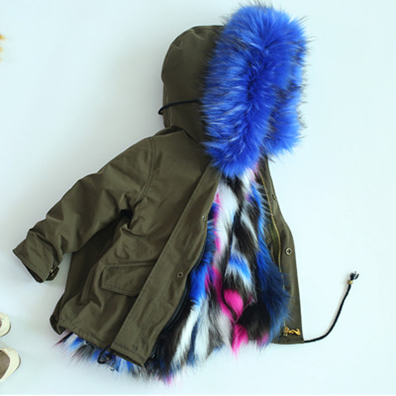 2018 winter from the stars of your same children imitation fur coat boys and girls to overcome the baby fur coat FPC-24 2017 winter new clothes to overcome the coat of women in the long reed rabbit hair fur fur coat fox raccoon fur collar