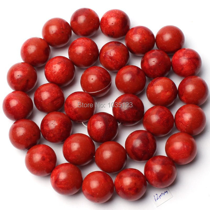 Free Shipping 12mm Natural Red Sponge Coral Round Shape Gems Loose Beads Strand 15 DIY Creative Jewellery Making w1911